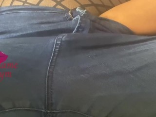 Playing w my pussy through my jeans