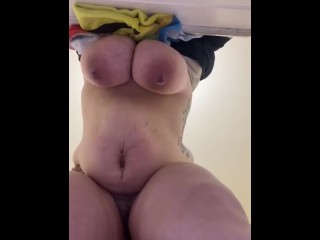 Fat girl bent over with fat belly and fat tits bouncing