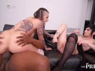 INTERRACIAL THREESOME WITH LESBIAN COUPLE NIKKI HEARTS AND LEIGH RAVEN