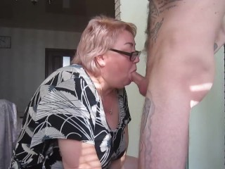 passionately sucks cock and gets cum in her mouth