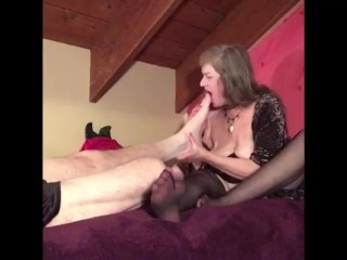 Mature MILF GILF Submissive Shows Soles Up In Black Stockings Giving Erotic Foot Worship & Massage