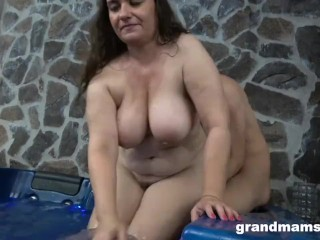 Twink Cums on Granny's Boobs in a Hot Tub