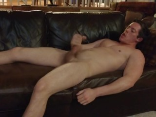 Hot Guy Jerks Off On His Leather Couch