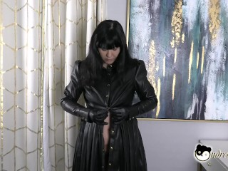 Weak For Leather Spying On Your Asian stepaunt Putting On Leather Gloves & Leather Dress Preview