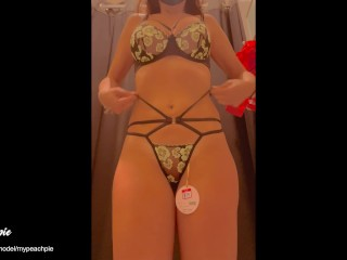 Trying on lingerie at the walmart fitting room 3 - Amateur Mypeachpie