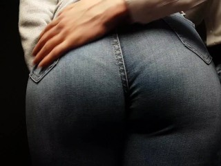 sexy girl with a big ass in tight jeans