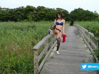 Japanese crossdresser public naked in the beach