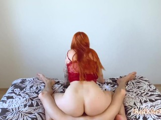 Redhead Blowjob and Riding on Big Dick - Pussy Creampie