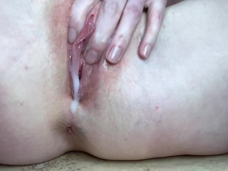 Sexy naked redhead fucks a Bad Dragon dragon's tail and plays with cum lube on her pretty pussy
