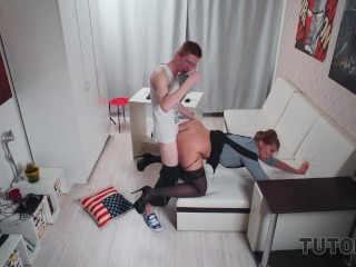 TUTOR4K. Boy simulates heart attack and with ease seduces naive tutor