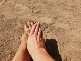 foot fetish on the beach, red pedicure and oil