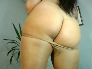 Hot BBW Lady in tan nylon dance and masturbate chubby pussy under pantyhose !