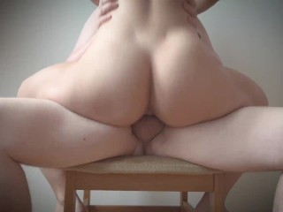 Filled her pussy on a chair