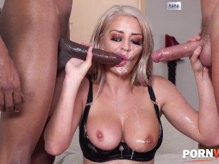 Hot blonde milf Sienna Day deepthroats two monster cocks and ass fucked