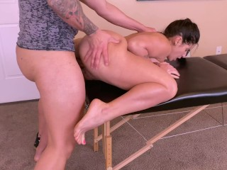 Big tits MILF gets a lower body massage including her wet pussy and Big ass