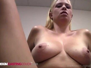 Platinum Blonde Amateur Stacy Gets Fucked Twice But Does Not Get The Job!