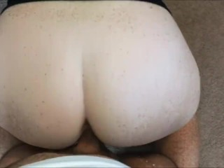 Freckled redhead reverse cowgirl doggystyle and accidental facial
