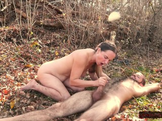 So Much Cum in the Woods!: He Cums Twice, Ending With Big Messy Facial, After Making Her Squirt