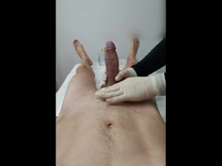 Dick Wax Depilation by Esthetician - Holds my Foreskin - Massage oil the end
