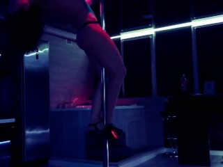 Slim bitch Lilly Devil dances a hot dance, shows tits and wants to fuck