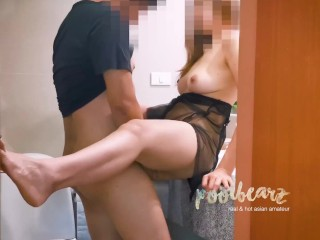 ASIAN PERFECT BODY MODEL IN BLACK SEXY DRESS FUCKS WITH HER BF IN TOILET / ไทย 漂亮