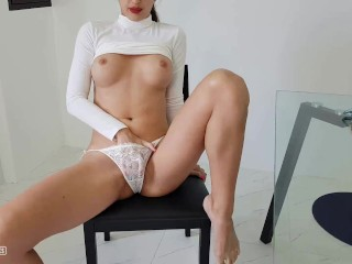 She returned from work, began to masturbate and fucked herself in the ass
