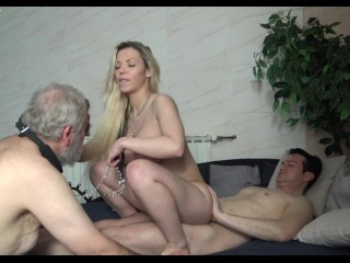 impotent old cuckold hubby must watch when his sadistic wife get fucked