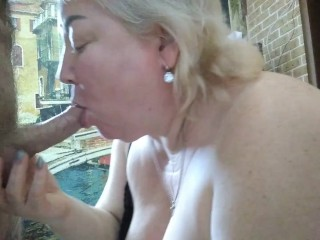mother-in-law sucks cock in the kitchen