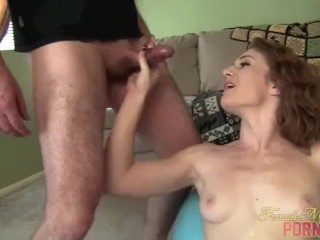 Fit Redhead Sucks Cock and Takes Cumshot to her Muscular Abs