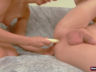 Banana Heaven for His Anal - Prostate, BlowJob, Cum Eating