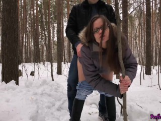 Cute Bitch Fantasizes about Teacher and Sex With Him in the Forest