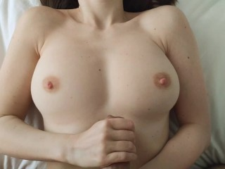 Hotwife's handjob with ruined cum on tits after a week of abstinence