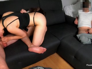 Two Cuckold Blowjobs and Cum Kisses with Fan