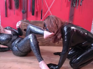Emotional Strapon Evening, latex Mistress and her rubber doll toy, BDSM Fetish with Azeria Asgerd