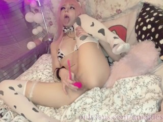 ahegao cosplay slut having fun with all her holes while should do e - learning