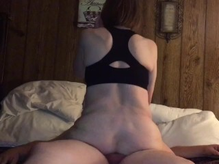 Granny riding and draining younger cock in her ass and farts out his cum