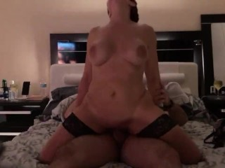 Cougar in sexy lingerie riding cock and take cum shot