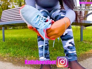 Katis Nike shoeplay, dipping, dangling with sweaty nylons Nikes, insoles, stinky feet