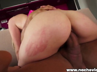 Pounding her doggie style, he growls, 'Look at me while I'm fucking you!'