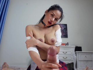 skillful Asian makes handjob with oil