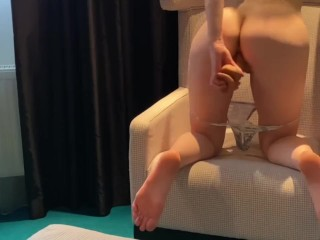 Big dildo and small tight ass. Who will win?