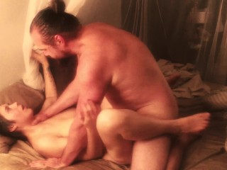 Moaning wife, Hard and intimate sex with cummy finish from loving husband.