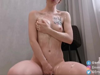 Smeared with whipped cream and fingering pussy