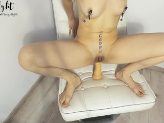 Started with nipple clamps finished with anal dildo - Tacy Tight