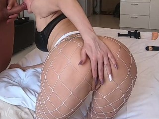 Milf and cute skinny girl with jiggly ass fucks and sucks