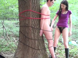 lady morgana give bobby a femdom handjob in forest