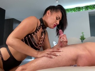 Dirty Talking Milf In Leather Deepthroats the Fuck Out Of Dick, Face Fucked & Gets a Big Cum Facial
