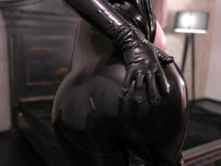 Hot Fetish Model Arya Grander In Black Latex Catsuit and Over Knee Boots Teasing You Fetisch Topless