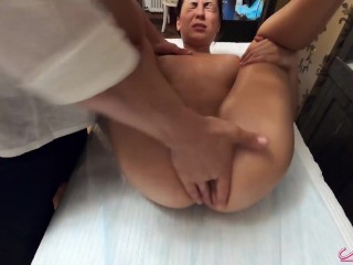 Babe Fingering Pussy and Squirt Orgasm after Massage