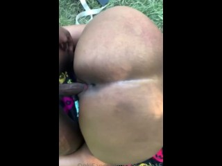 Thick black slut getting fucked at the park